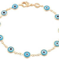 Gold Filled Light Blue Mini Evil Eye Clasp Bracelet -  7.5 inches long - Hamsa