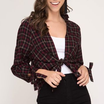 Long Sleeve Plaid Top with Front Tie - Red