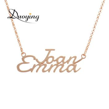 Duoying Double-Line Personalized Name Necklace Custom Engraved Letter Collares Mujeres Necklace & Pendant with Initial for Etsy