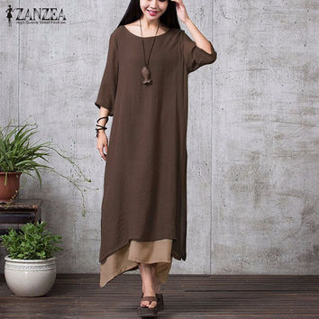 ZANZEA  Casual Loose Boho Long Maxi Dresses