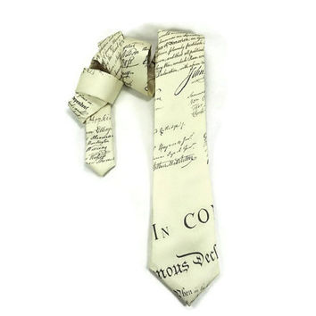 Declaration of Independence tie, American tie, skinny tie, Constitution tie, Republican tie, political tie, historical tie, teacher tie,