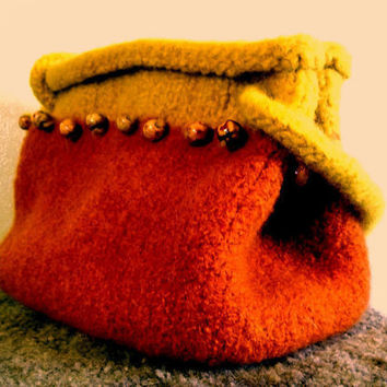 Felt Bag Purse Pockettbook Yellow Orange