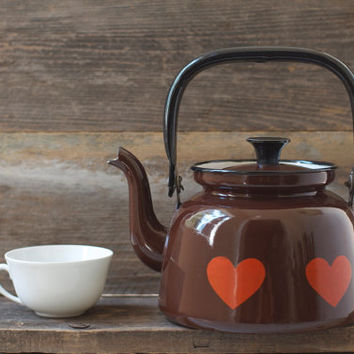 Vintage Brown Heart Enamel Tea Pot - Mid Century