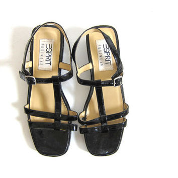 Vintage 90s black patent sandals // strappy with chunky heels / ESPRIT shoes / women's size 8