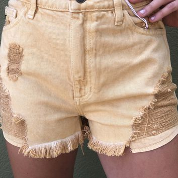 Kan Can High Rise Shorts- Gold