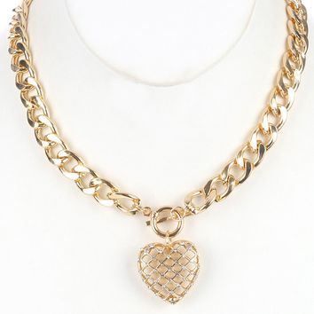 Gold Curb Chain Necklace with Mesh Cutout Heart Charm