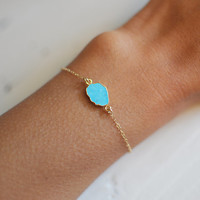 Turquoise Stone Bracelet with a Gold Filled Chain