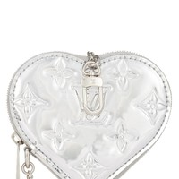 Limited Edition Silver Monogram Miroir Heart Coin Purse