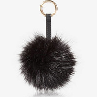 Black Faux Fur Pom Keychain And Bag Charm from EXPRESS