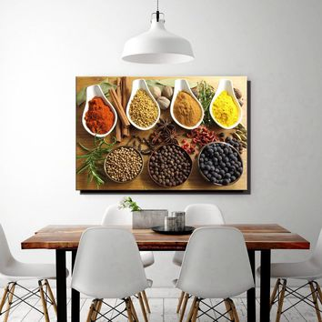 Colorful Spice In Spoon Gather Together In Table Granulate Slice Pices Wall Art Canvas Painting Print Food Picture Home Decor