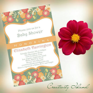 Floral Garden Baby Shower invitations 4x6 picture paper