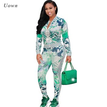 Women's Tracksuits 2 Piece Set 2017 Autumn New Fashion Printed Jacket and Pants Jogger Suits Two Piece Set Casual Sweatsuit Set