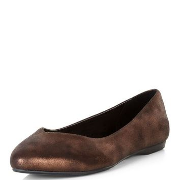 Wide Fit Bronze Metallic Pointed Pumps