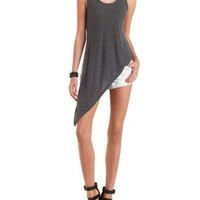 Ribbed Asymmetrical Tank Top by Charlotte Russe