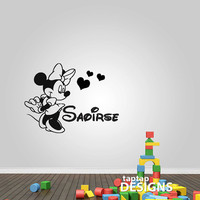 Minnie Mouse with Name Wall Decal Sticker SKU0128