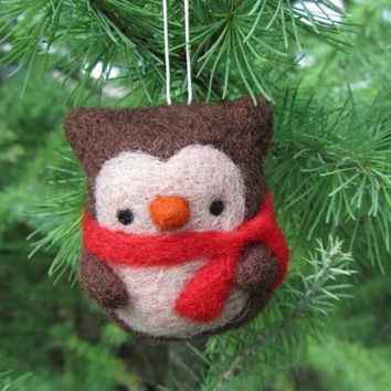 Needle Felted Owl Ornament, Christmas Owl, Christmas Ornament, Christmas Tree Decor, Felt Owl Ornament, Owl Decoration, Wool Felt Ornament