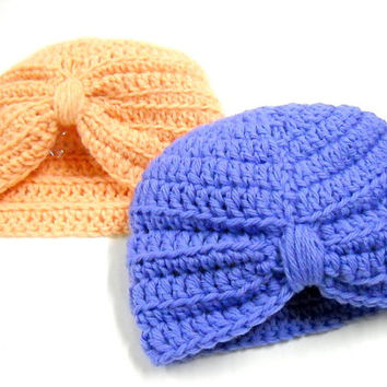 Baby Turban Style Hat, Crocheted Baby Hat, Baby Shower, New Baby, Baby Girls' Hat