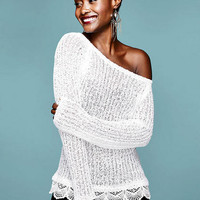 Lace Trim Off-Shoulder Pullover Sweater