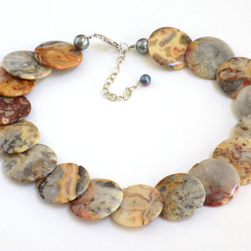Gemstone Necklace, Agate Necklace, Crazy Lace Agate, Handmade Necklace, Handcrafted Jewelry, Brown Necklace, Unique Necklace, Agate Jewelry