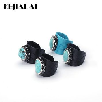 KEJIALAI Luxury Jewelry Blue Turquoises Bead Pave Rhinestone Charms Black Real Snake Leather Adjustable Open Ring Cuff Women