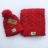 UGG winter fashion men and women knit hats & scarves two sets F Red