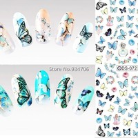 2016 Nail Design Water Transfer Nails Art Sticker Colored Butterfly Nail Wraps Sticker Watermark Fingernails Decals