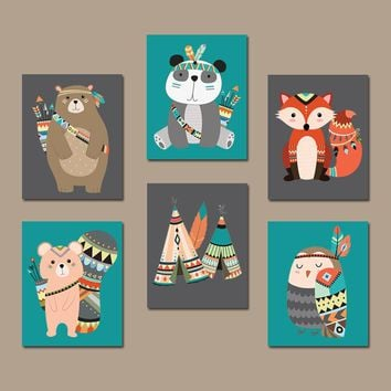 TRIBAL Animals Nursery Decor, Tribal Nursery Wall Art, Canvas or Prints,  Woodland Animals Decor, Tribal Baby Shower Decor Set of 6 Pictures