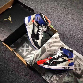 ONETOW Sale The 10 OFF WHITE x Fragment x Nike Air Jordan 1 Retro High OG 10X AJ1 Basketball Shoes Buffalo Sneaker AA3834-101