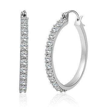 Jewelili Sterling Silver Created White Sapphire Round Hoop Earrings