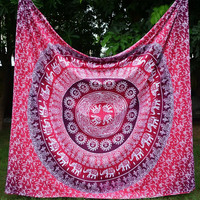 Pink Red Elephant Mandala Bohemian Yoga Beach Wall Boho Tapestry