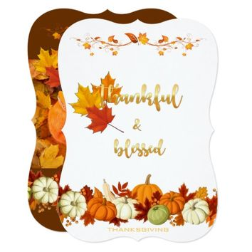 Thankful, Blessed Golden Script Thanksgiving Photo Card