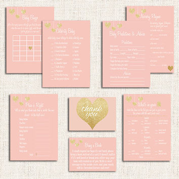 Gold and Pink Baby Shower Games Choose ANY Five  Items Baby Shower Price is right Celebrity baby Baby bingo Nursery rhyme  etc. Digital diy