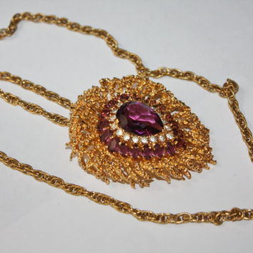 Vintage Panetta Necklace Couture Amethyst Pendant 1980s Jewelry