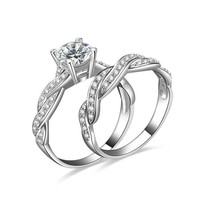 1.5ct Infinity CZ Engagement Wedding Bridal Set Ring 925 Silver Sz.5 6 7 8 9 10 (With Thanksgiving&Christmas Gift Box)= 1932476100