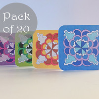 Pack of 20 Mini Notecards. 7x7 cm. 180g card. Thank you notes. Mini Cards. Four different colours. Green, Yellow, Pink, Blue. By Ma'at Silk