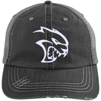 DODGE HELLCAT 6990 Distressed Unstructured Trucker Cap