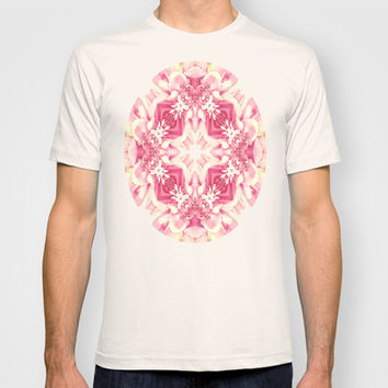 Vintage Pink Flower Power  T-shirt by Louisa Catharine Design