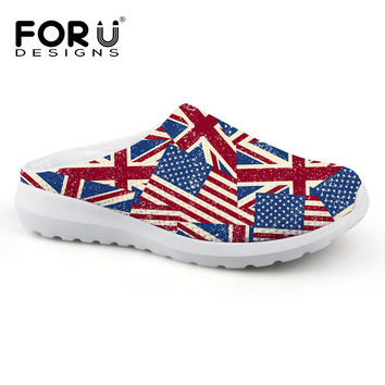 Casual Women Sandals Summer Shoes Mesh Massage Breathable UK USA Flag Garden Shoes Outdoor Mules & Clogs Slip-on Women Slippers