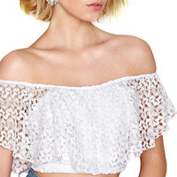 White Off the Shoulder Crochet Ruffled CroppedTop
