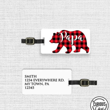 Luggage Tag Papa Bear Red Black Plaid Metal Luggage Tag With Custom Info On Back  Single Tag  Great Gift