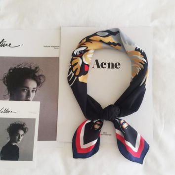 Black Tiger Scarf Women Foulard Bandana Luxury Brand Hankerchief Fashion Scarves Printed Neckerchief Square Headband 70*70cm NEW