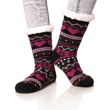 Dosoni Women's Winter Snowflake Fleece Lining Knit Christmas Knee Highs Stockings Slipper Socks
