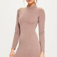 Missguided - Pink Marl Curve Hem High Neck Bodycon Dress