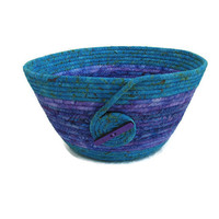 Turquoise and Purple Coiled Fabric Bowl, Basket