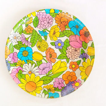 Large Metal Round Serving Tray - Mod Colorful Flowers