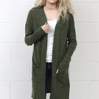 Blogger Style Hacci + Elbow Patch Long Cardigan {Olive}
