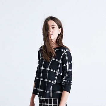 Double Windowpane Pullover Sweater
