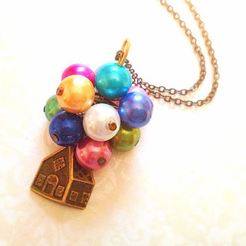 Disney UP Inspired Necklace. Colorful Balloons. Vintage Style. Brass Chain. Miniature House. Small House. Pixar. Cute. Whimsical. Movies.