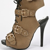 Wild Diva Bridget-38 Lace Up Buckle Heels | MakeMeChic.com