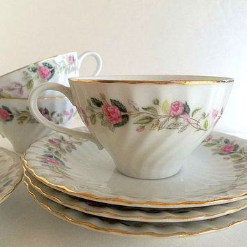 Vintage FOUR set Regency Rose swirl cups & saucers and cream pitcher set Creative China Japan pink roses floral tea party set Cottage Chic